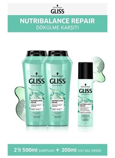 Gliss Gliss Nutribalance Şampuan 500 Ml X 2 Adet + Sıvı Saç Kremi 200 Ml Renksiz